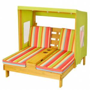 Kids Lounge Patio Lounge Chair with Cup Holders and Awning