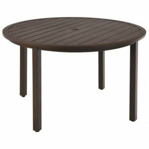 Costway 49 Inch Round Patio Dining Table Metal Slatted Table with Umbrella Hole-Brown