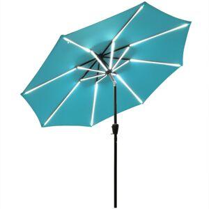 Costway 9Ft Solar LED Market Umbrella with Aluminum Crank Tilt 16 Strip Lights-Turquoise