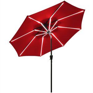 Costway 9Ft Solar LED Market Umbrella with Aluminum Crank Tilt 16 Strip Lights-Wine