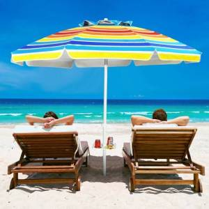 Costway 7.2 FT Portable Outdoor Beach Umbrella with Sand Anchor and Tilt Mechanism for Poolside and Garden-Multicolor