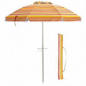 Costway 6.5 Feet Beach Umbrella with Sun Shade and Carry Bag without Weight Base-Orange