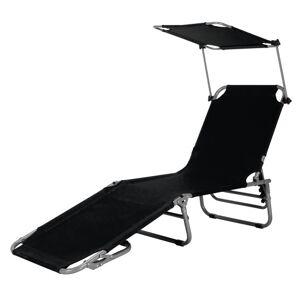 Adjustable Outdoor Beach Patio Pool Recliner with Sun Shade-Black