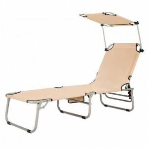 Adjustable Outdoor Beach Patio Pool Recliner with Sun Shade