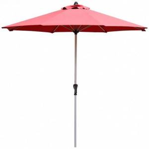 Costway 9' Patio Outdoor Market Umbrella with Aluminum Pole without Weight Base-Burgundy
