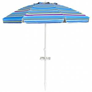 Costway 7.2 FT Portable Outdoor Beach Umbrella with Sand Anchor and Tilt Mechanism for Poolside and Garden-Blue