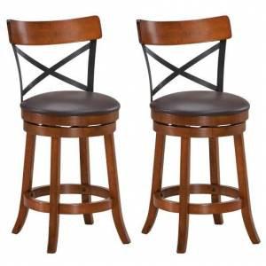 Set of 2 Bar Stools 360-Degree Swivel Dining Bar Chairs with Rubber Wood Legs-25 inch