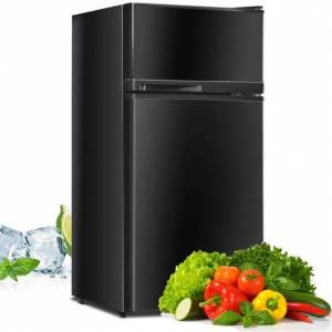 Costway 2 Doors Cold-rolled Sheet Compact Refrigerator-Black