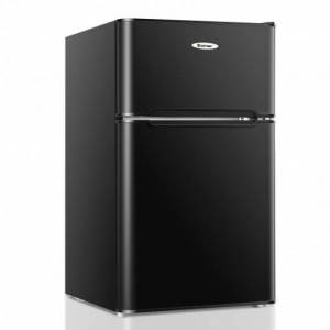 3.3 Cubic Feet Compact Refrigerator with Freezer 2 Reversible Door Mini Fridge-Black