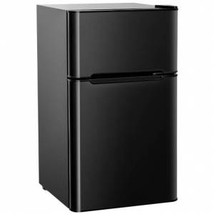 Costway 3.2 cu ft. Compact Stainless Steel Refrigerator-Black
