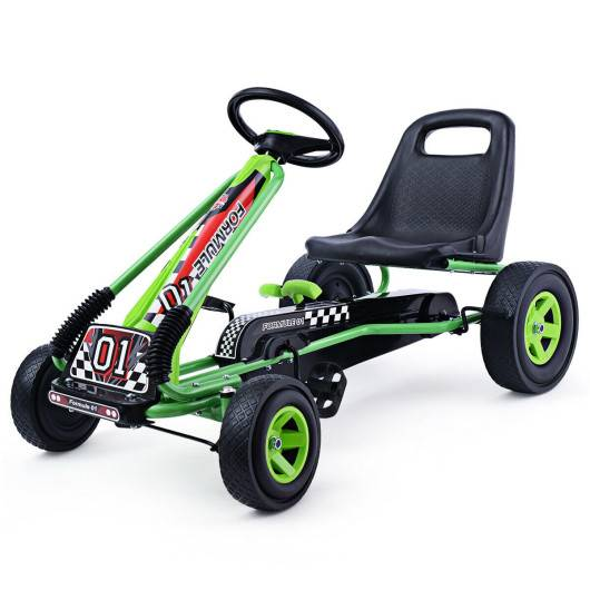 4 Wheels Kids Ride On Pedal Powered Bike Go Kart Racer Car Outdoor Play Toy-Green