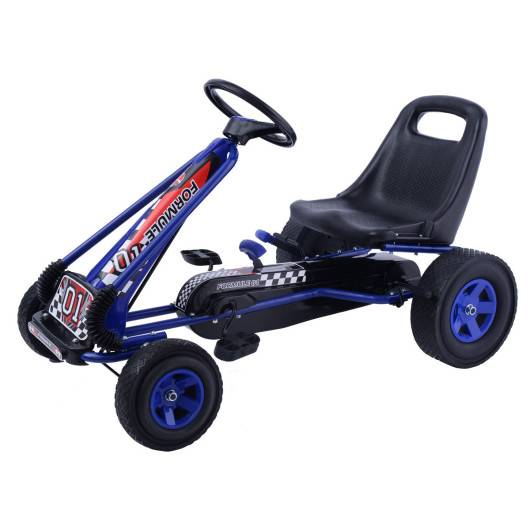Costway 4 Wheels Kids Ride On Pedal Powered Bike Go Kart Racer Car Outdoor Play Toy-Blue