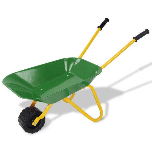 Outdoor Garden Backyard Play Toy Kids Metal Wheelbarrow-Green