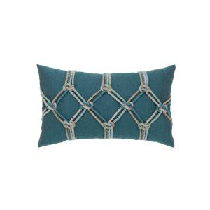 Elaine Smith Rope Lumbar Sunbrella Pillow, Blue