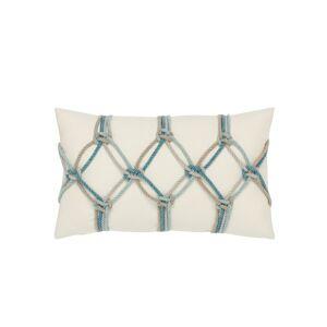 Elaine Smith Rope Lumbar Sunbrella Pillow, Turquoise