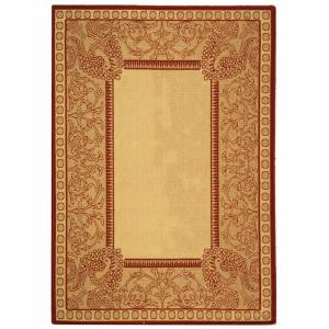 """Safavieh Courtyard Natural and Red 7'10"""" x 7'10"""" Square Area Rug"""