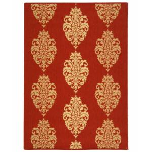 """Safavieh Courtyard Red and Natural 6'7"""" x 9'6"""" Area Rug"""