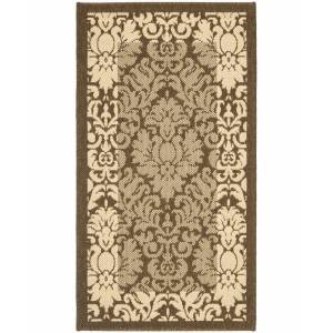 """Safavieh Courtyard Brown and Natural 6'7"""" x 9'6"""" Area Rug"""