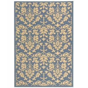 """Safavieh Courtyard Blue and Natural 7'10"""" x 7'10"""" Square Area Rug"""