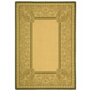 """Safavieh Courtyard Natural and Olive 6'7"""" x 9'6"""" Sisal Weave Area Rug"""
