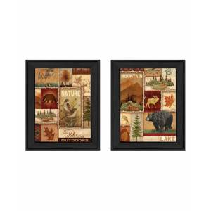 """Trendy Decor 4U Lodge Collage Collection By Ed Wargo, Printed Wall Art, Ready to hang, Black Frame, 28"""" x 18"""""""