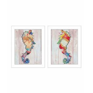 """Trendy Decor 4U Sea Horses Collection By Sear, Printed Wall Art, Ready to hang, White Frame, 14"""" x 18"""""""