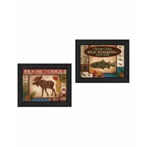 """Trendy Decor 4U Lodge I Collection By Mollie B, Printed Wall Art, Ready to hang, Black Frame, 36"""" x 14"""""""