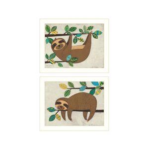 "Trendy Decor 4U Cute Sloths 2-Piece Vignette by Bernadette Deming, White Frame, 18"" x 14"""