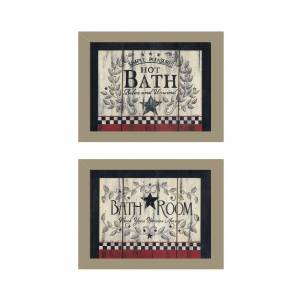 "Trendy Decor 4U Hot Bath 2-Piece Vignette by Linda Spivey, Taupe Frame; 2-18x14's, 18"" x 14"""