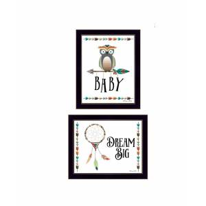 """Trendy Decor 4U Baby Owl/Dream Big Collection By Susan Boyer, Printed Wall Art, Ready to hang, Black Frame, 18"""" x 14"""""""