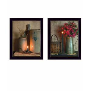 """Trendy Decor 4U Country Candlelight Collection By Susan Boyer, Printed Wall Art, Ready to hang, Black Frame, 14"""" x 18"""""""