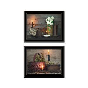 """Trendy Decor 4U White / Red baskets 2-Piece Vignette by Susie Boyer, Black Frame, 19"""" x 15"""""""