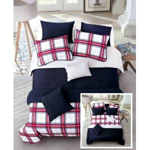Riverbrook Home Red Plaid 8 Pc Full/Queen Layered Comforter and Coverlet Set Bedding