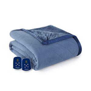 Shavel Micro Flannel to Ultra Velvet King Electric Comforter/Blanket Bedding - Indigo - Size: King