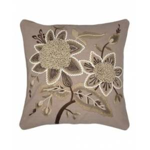 """Mod Lifestyles Marguerite Embroidery Decorative Pillow, 18"""" x 18"""" - Natural - Size: 18x18"""