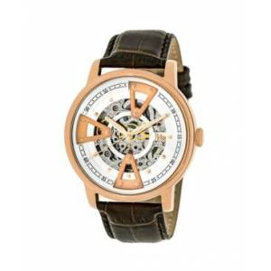 Reign Belfour Automatic Rose Gold Case, Genuine Brown Leather Watch 44mm - Men - Dark Brown