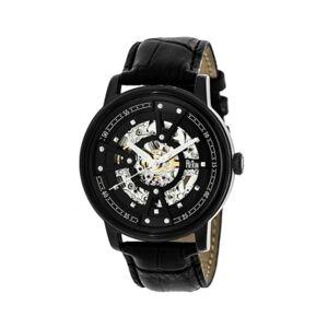 Reign Belfour Automatic Black Case, Genuine Black Leather Watch 44mm - Men - Black