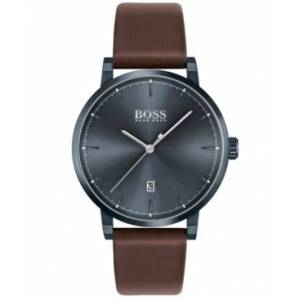 Men's Confidence Brown Leather Strap Watch 42mm - Men - Brown