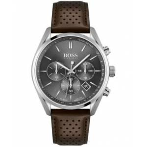 Hugo Boss Men's Chronograph Champion Brown Leather Strap Watch 44mm - Men - Silver