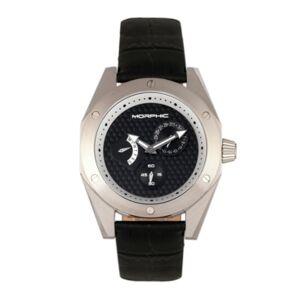 Morphic M46 Series, Silver Case, Black Leather Band Men's Watch w/Date, 44mm - Men - Black