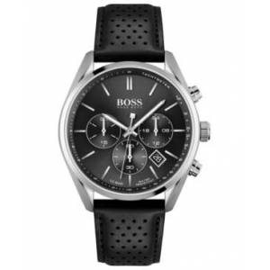 Hugo Boss Men's Chronograph Champion Black Leather Strap Watch 44mm - Men - Silver