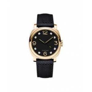 Itouch Men's Bezel Round Diamond Gold-Tone Black Leather Analog Watch, 44mm - Men - Black - Size: 44mm