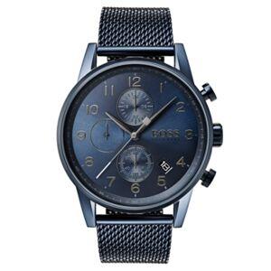 Hugo Boss Men's Chronograph Navigator Blue Stainless Steel Mesh Bracelet Watch 44mm - Men - Blue