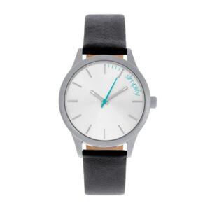 Simplify Quartz The 2400 Silver Dial, Genuine Black Leather Watch 42mm - Men - Black