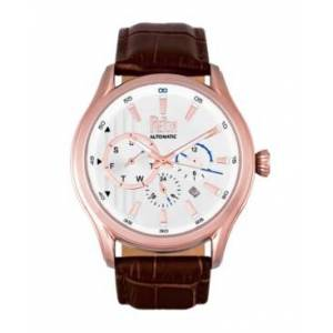Reign Gustaf Automatic Rose Gold Case, Genuine Brown Leather Watch 43mm - Men - Dark Brown