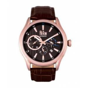 Reign Gustaf Automatic Black Dial, Genuine Brown Leather Watch 43mm - Men - Dark Brown