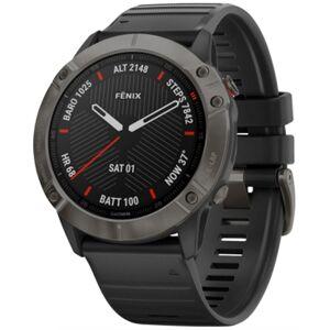 Unisex Fenix 6X Sapphire Black Silicone Strap Smart Watch 35.56mm - Women - Black