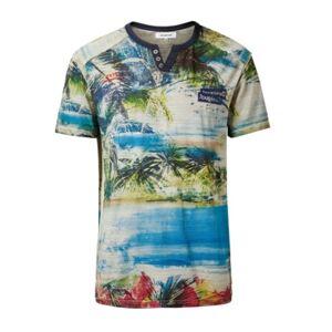 Men's Tropical Mandarin Collar Buttons T-Shirt - Men - White - Size: L