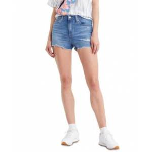Levi's Rise Distressed Denim Shorts - Women - Tribeca Sapphire Dust - Size: 27