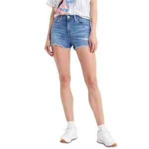 Rise Distressed Denim Shorts - Women - Tribeca Sapphire Dust - Size: 30